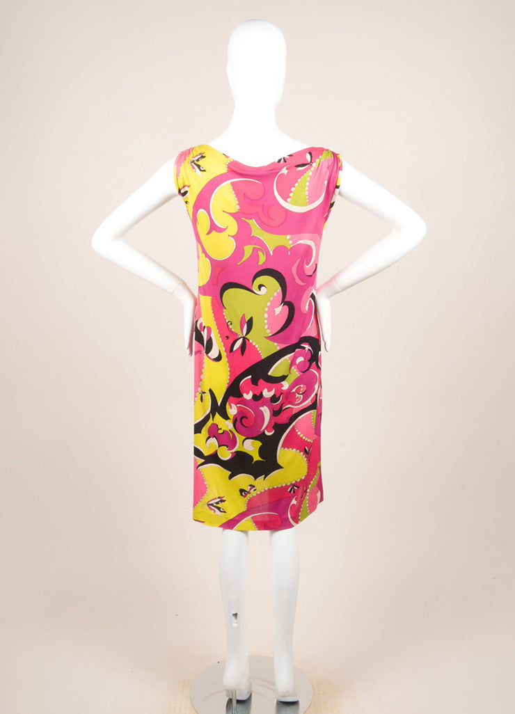 Emilio Pucci Multicolor Knit Graphic Print Sleeveless Dress Backview