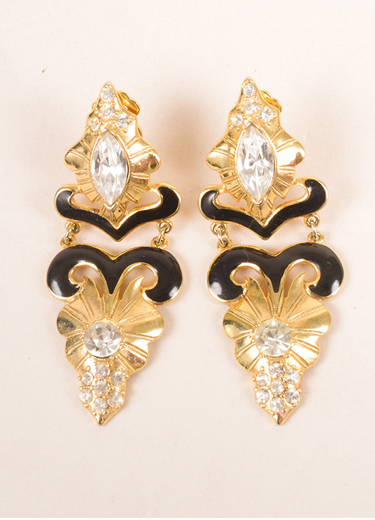 Vintage Gold Toned and Black Enamel Rhinestone Embellished Drop Earrings Frontview
