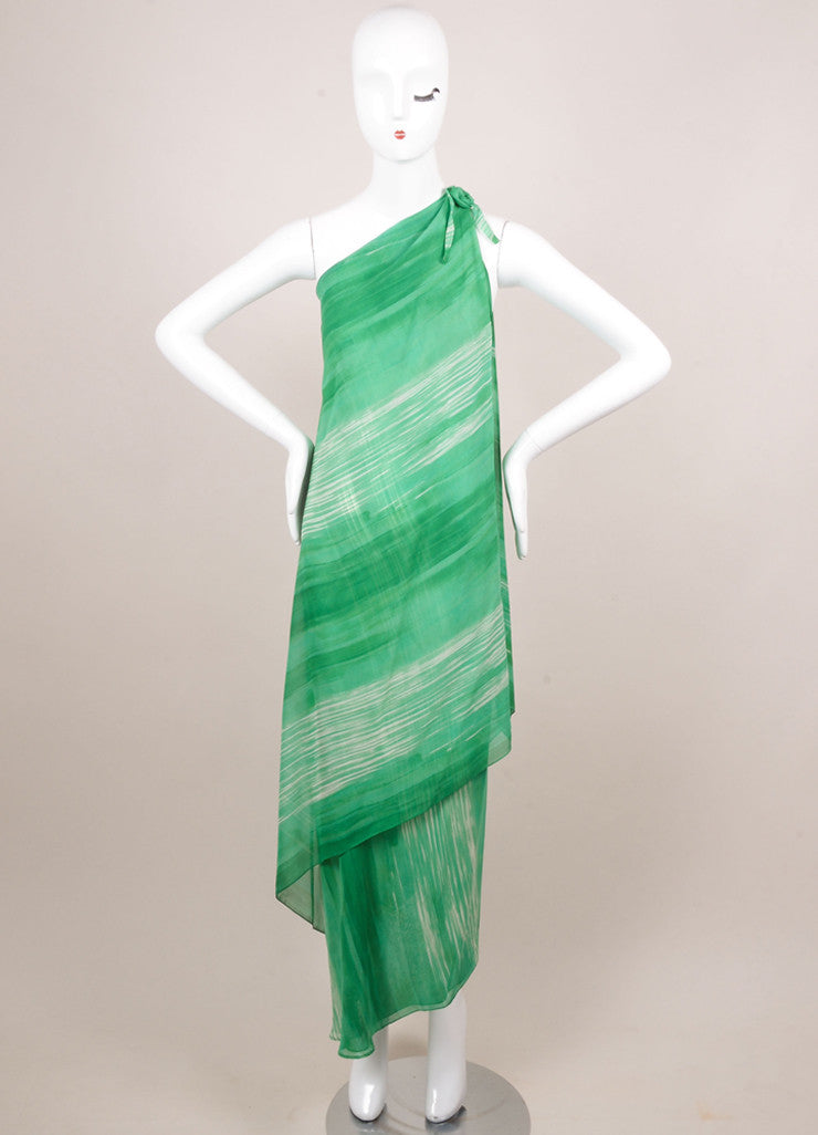 Halston Green and White Watercolor Striped One Shoulder Draped Dress Frontview
