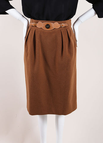 Hermes Brown Cashmere Leather Belted Pencil Skirt Frontview