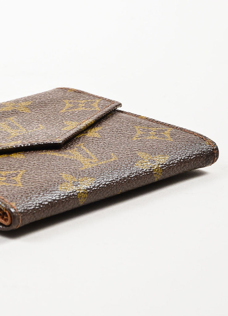 Louis Vuitton Brown Coated Canvas Monogram Snap Billfold Wallet Bottom View