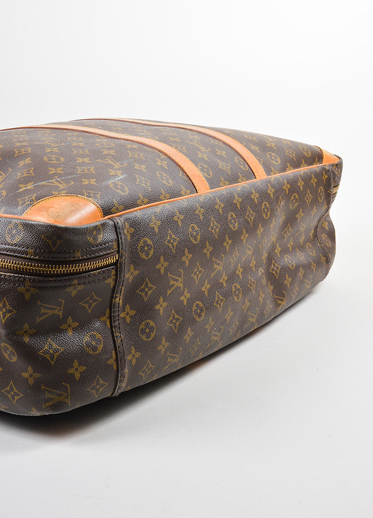 "Louis Vuitton Brown and Tan Canvas and Leather Monogram ""Sirius 60"" Suitcase Bottom View"