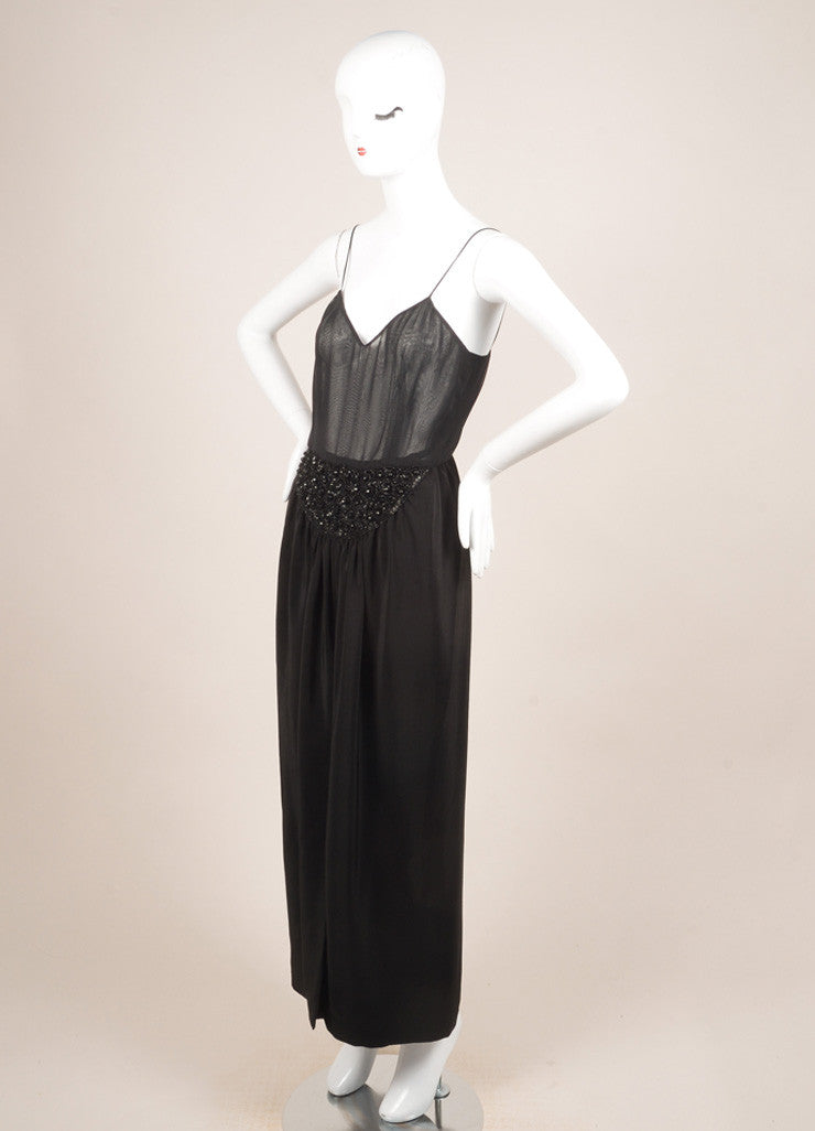 Oscar de la Renta Black Silk Beaded Sheer Sleeveless Dress Sideview