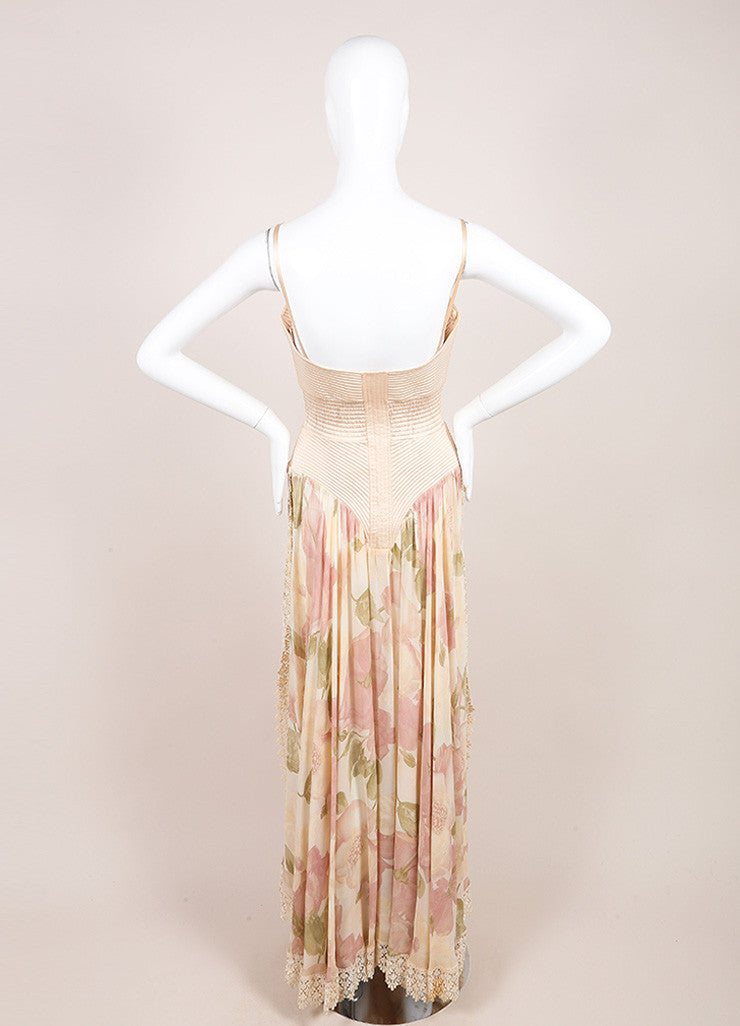 Valentino Pink Silk Lace Trim Floral Print Sheer Full Length Dress Backview