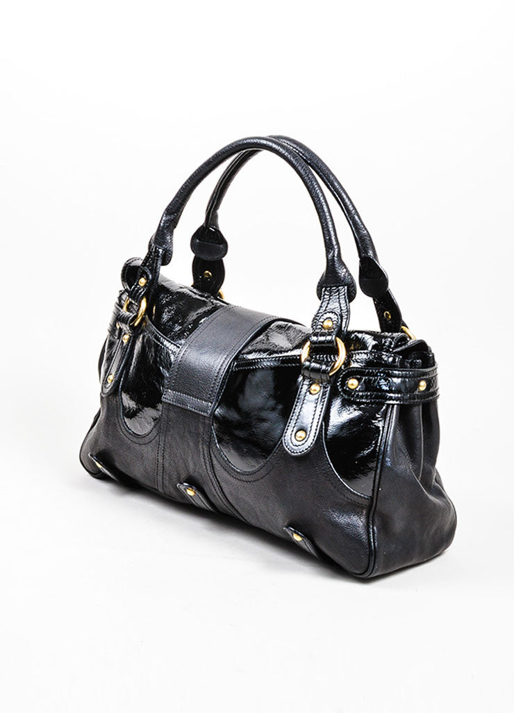 "Black Valentino Patent Leather ""Catch"" Satchel Handbag Sideview"