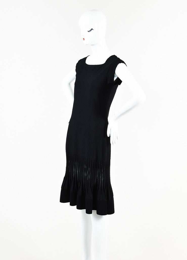 Valentino Black Stretch Knit Mesh Trim Pleated Cap Sleeve Flare Dress Sideview