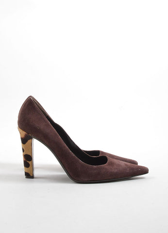 Valentino Brown Suede and Pony Hair Cheetah Print Heel Pointed Toe Pumps Sideview