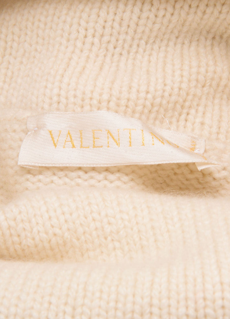Valentino Cream Cashmere and Mink Trimmed Pull Over Sweater Brand