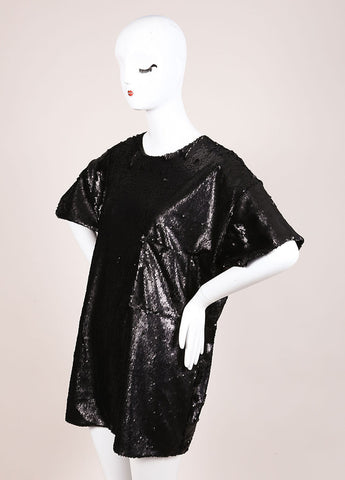 Wayne New With Tags Black Sequin Short Sleeve Oversized T Shirt Sideview
