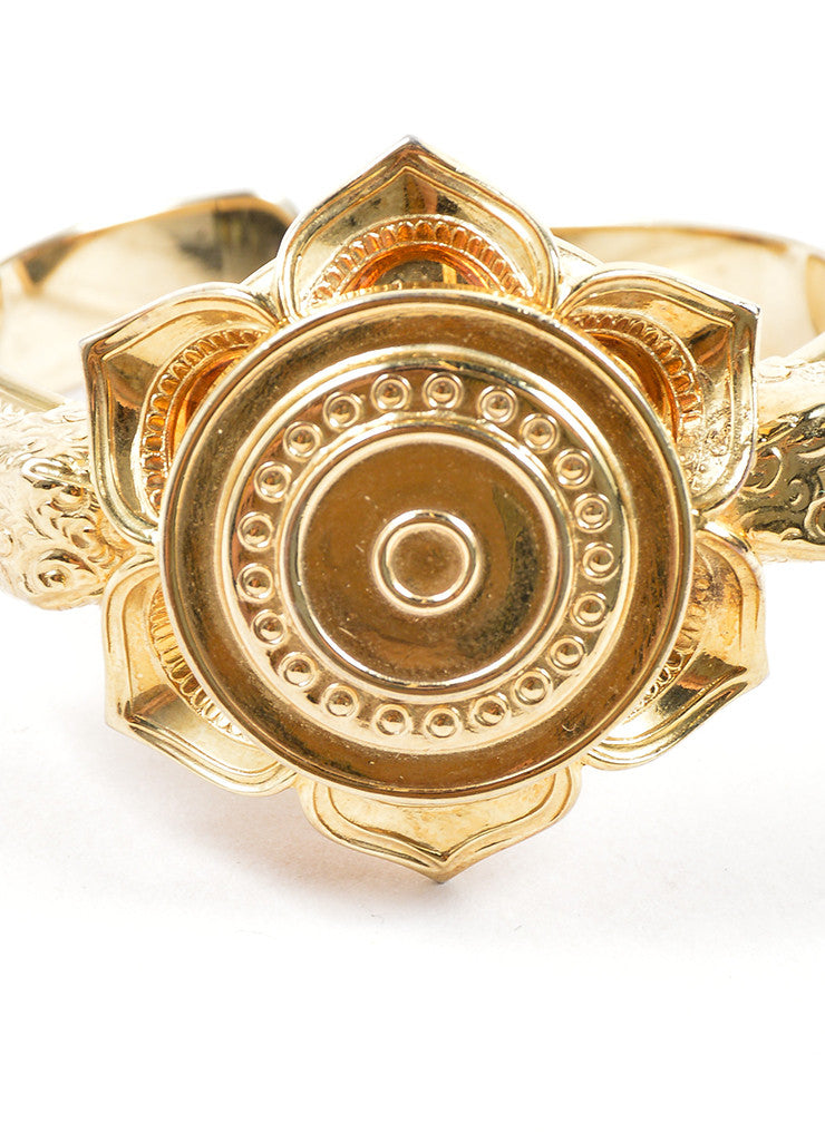 Whiting and Davis Gold Toned Flower Etched Cuff Bracelet Detail