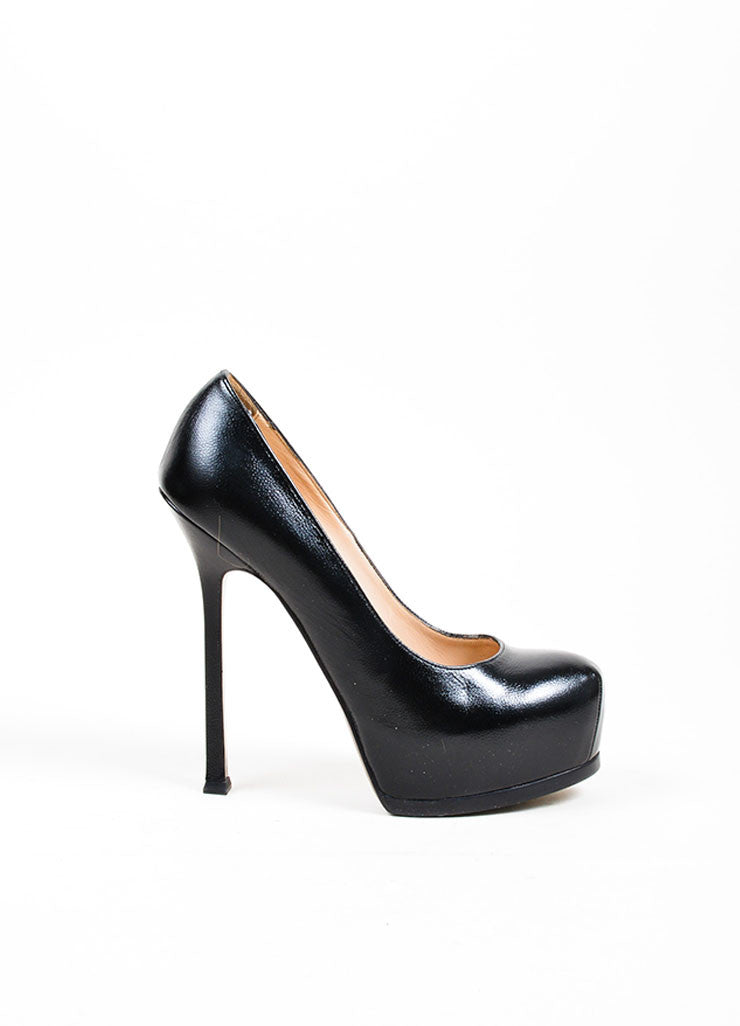 "Black Yves Saint Laurent Leather ""Classic Tribute Two"" Platform Pumps Sideview"