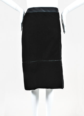 Yves Saint Laurent Black Satin Velvet Paneled Knee Length Pencil Skirt Front