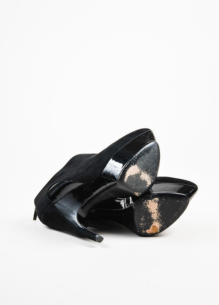 "Yves Saint Laurent Black Suede and Patent Leather ""Imperiale 95"" Booties Outsoles"