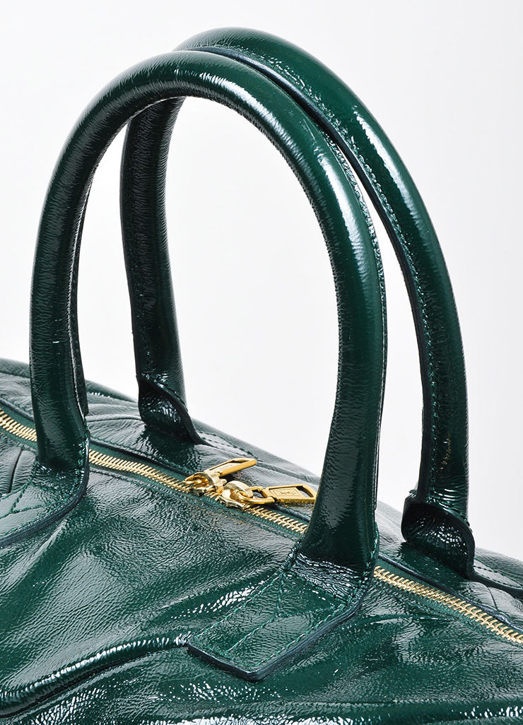 "Green Yves Saint Laurent Textured Patent Leather ""Easy"" Caryall Bag Detail 2"