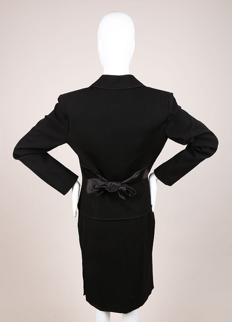 Valentino Black Wool and Silk Bow Embellished Skirt Suit Backview