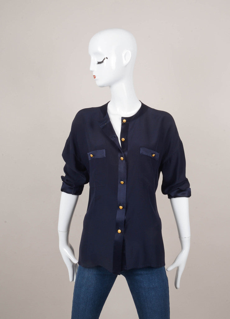 Navy Long Sleeve Button Down Blouse