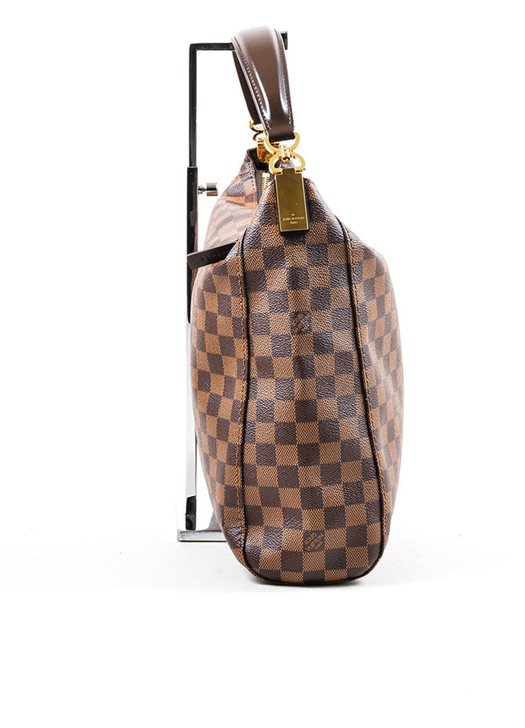 "Brown Louis Vuitton Damier Ebene Canvas ""Portobello GM"" Tote Bag Sideview"