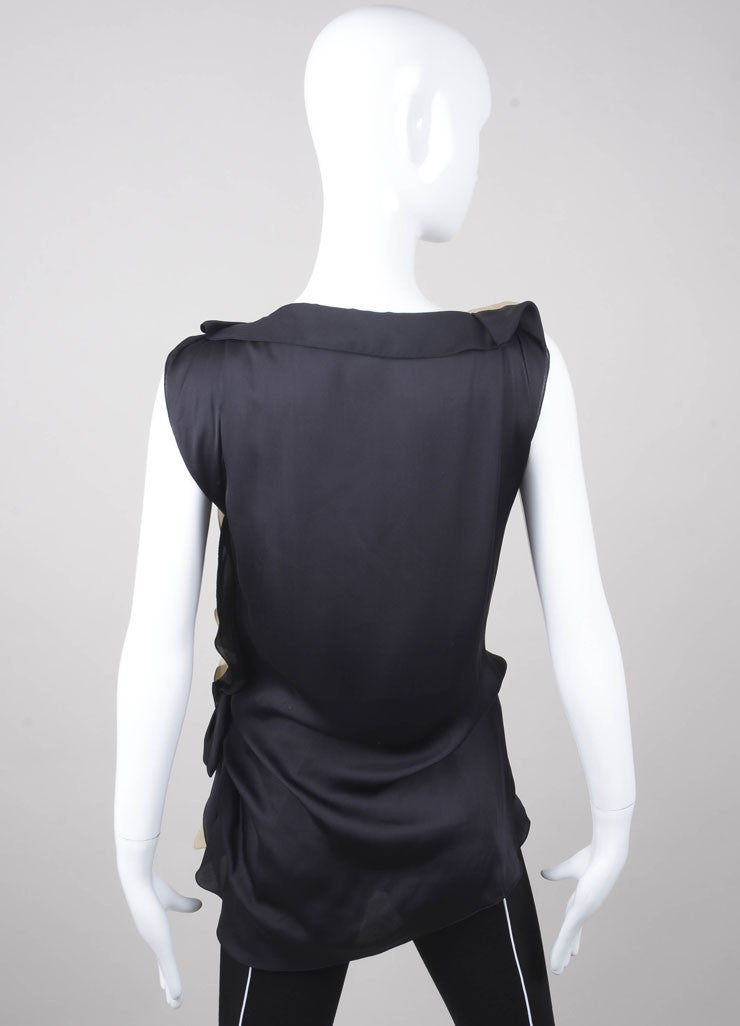 Tan and Black Paneled Asymmetric Ruffle Sleeveless Silk Top