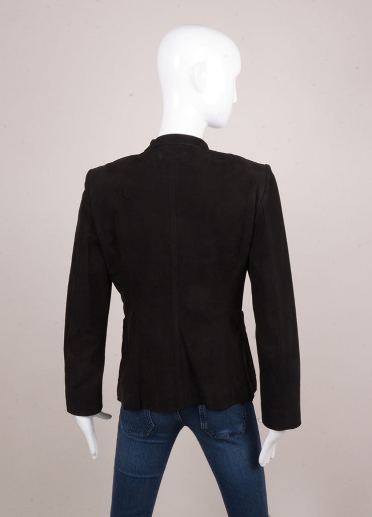 Black Yves Saint Laurent Suede Leather Ruffle Front Fitted Jacket