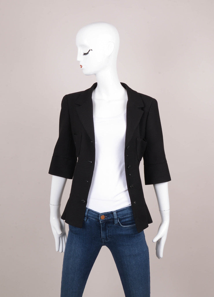 Black Wool and Silk Embellished Button Three Quarter Length Sleeve Fitted Jacket