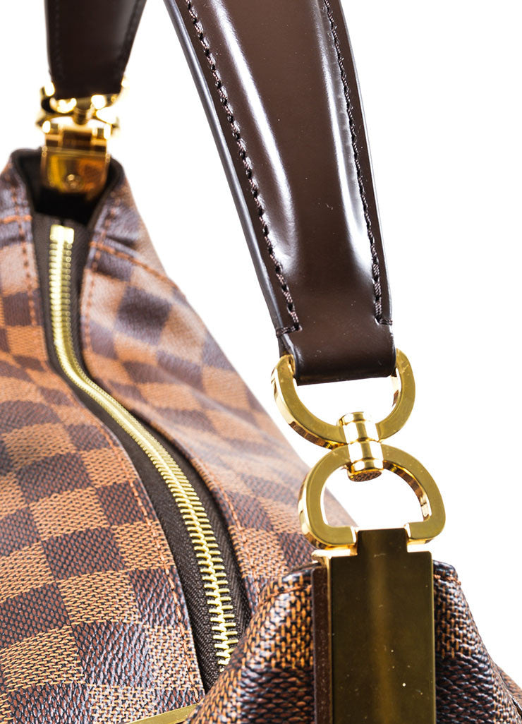 "Brown Louis Vuitton Damier Ebene Canvas ""Portobello GM"" Tote Bag Detail 2"