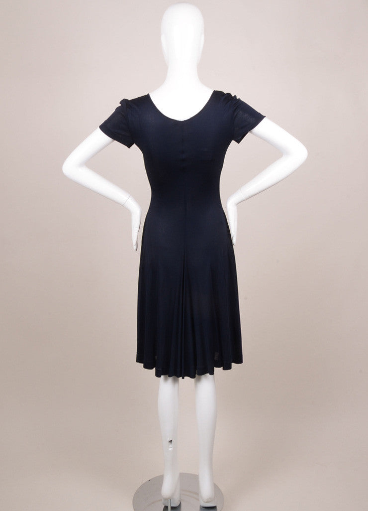 Rochas New With Tags Navy Sheer Ruched Deep V Dress Backview