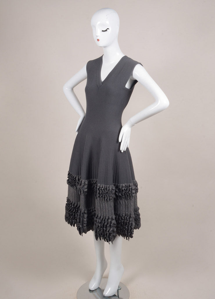 Alaia Grey Wool Ribbed Fitted Ruffle Trim Sleeveless Dress Sideview