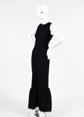 Alaia Black Stretch Knit Ruffle Open Back Sleeveless Mermaid Gown Sideview