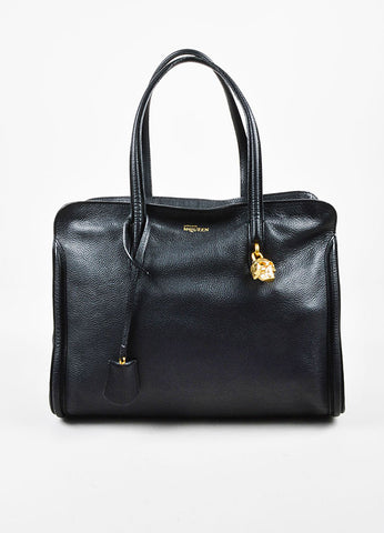 Alexander McQueen Black Grained Leather Skull Padlock Satchel Bag Frontview