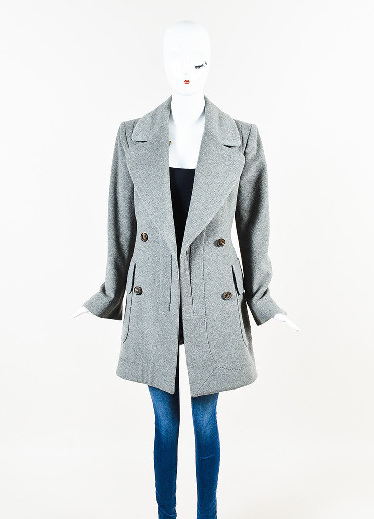 Alexander McQueen Grey Cashmere Double Breasted Pea Coat Jacket Frontview