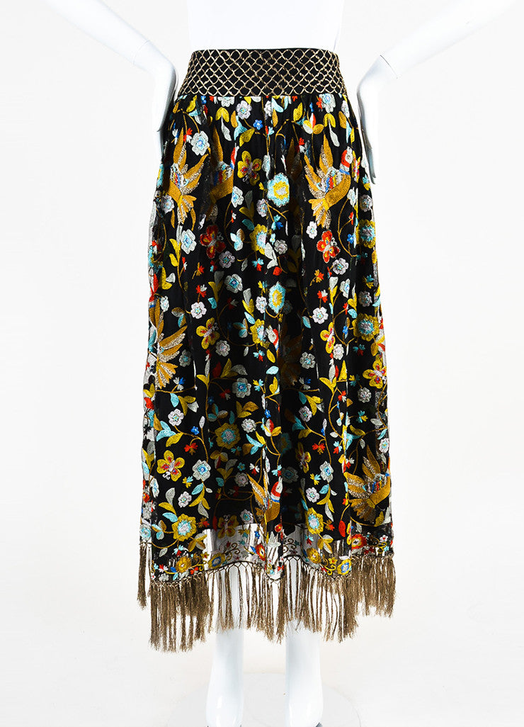 Alice + Olivia Black and Multicolor Mesh Floral Embroidered Tassel Skirt Frontview