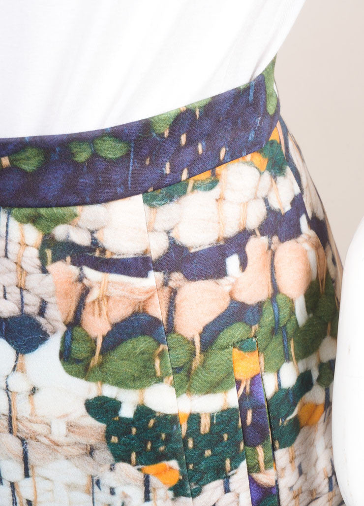 Altuzarra New With Tags Green, Blue, and Yellow Weave Print Pencil Skirt Detail