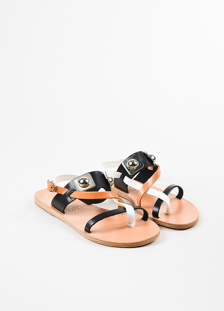 "Ancient Greek Sandals x Peter Pilotto Black Leather ""Alethea"" Sandals  Frontview"