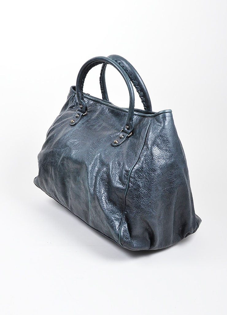 "Black Balenciaga Distressed Leather ""Sunday"" Oversized Tote Bag Sideview"