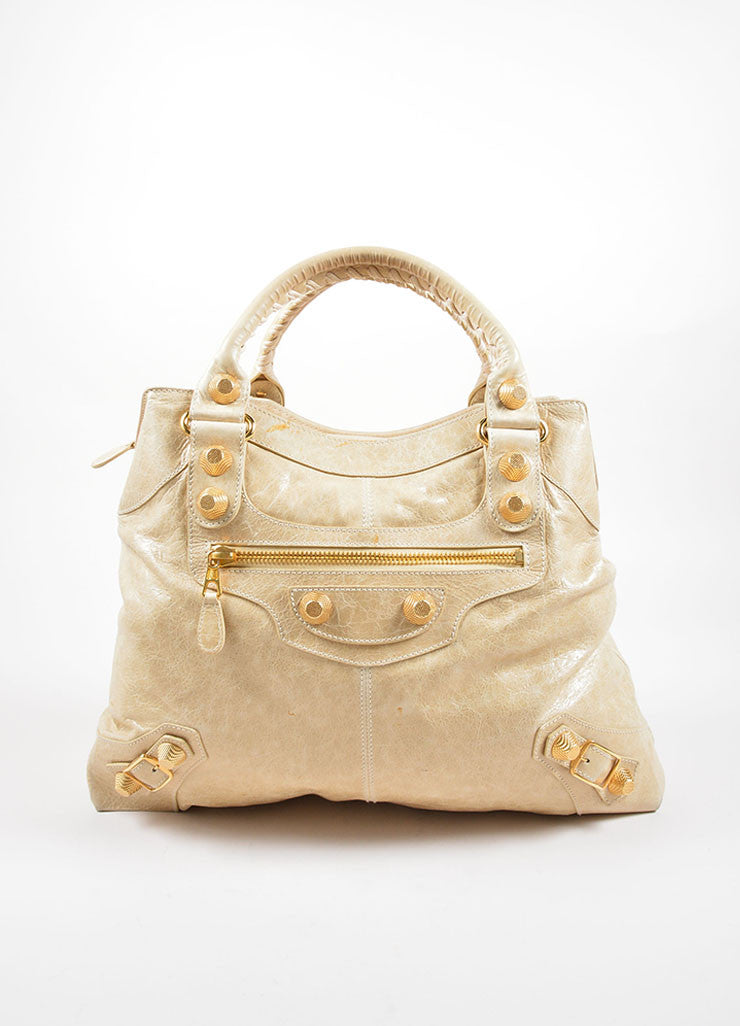 "Balenciaga Cream Leather Gold Toned Studded ""Giant Brief"" Tote Bag Frontview"