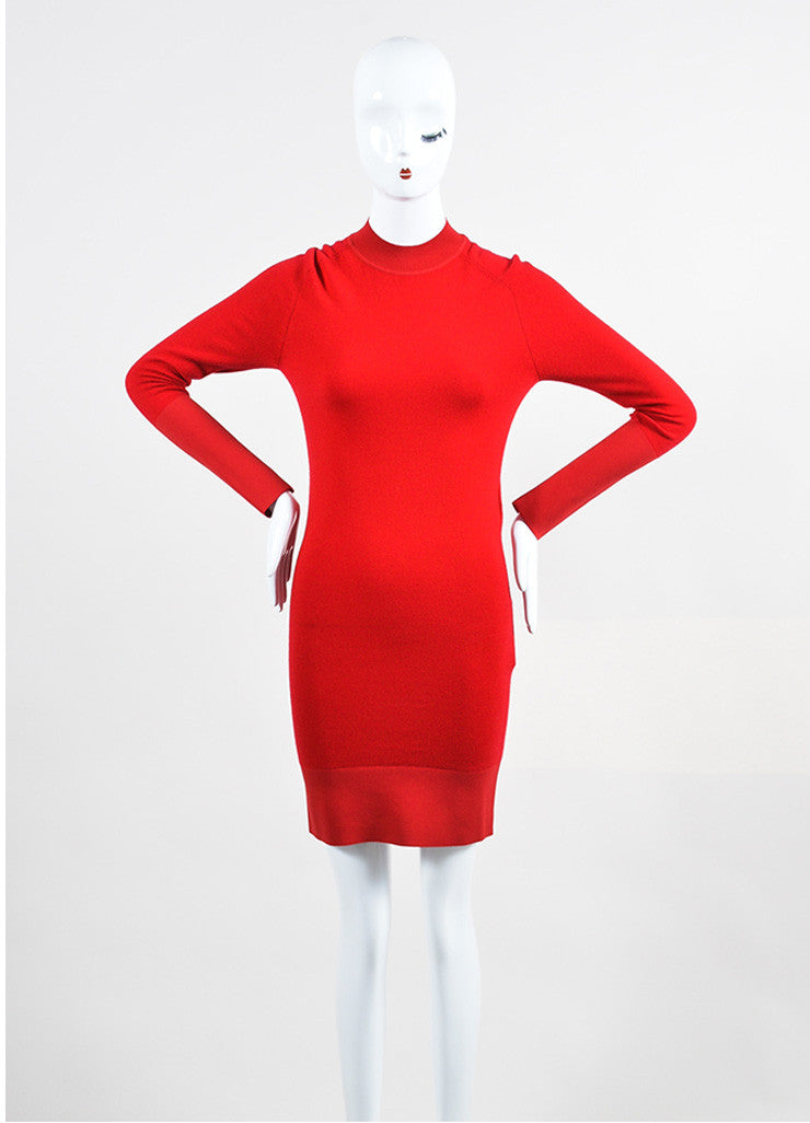 Balenciaga Lipstick Red Cashmere Long Sleeve Sweater Dress Frontview