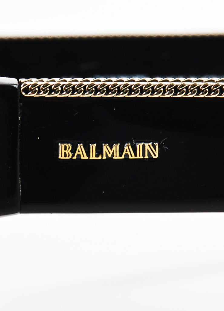Balmain Black, Grey, and Gold Toned Chain Detailed Dark Tinted Shield Sunglasses Brand
