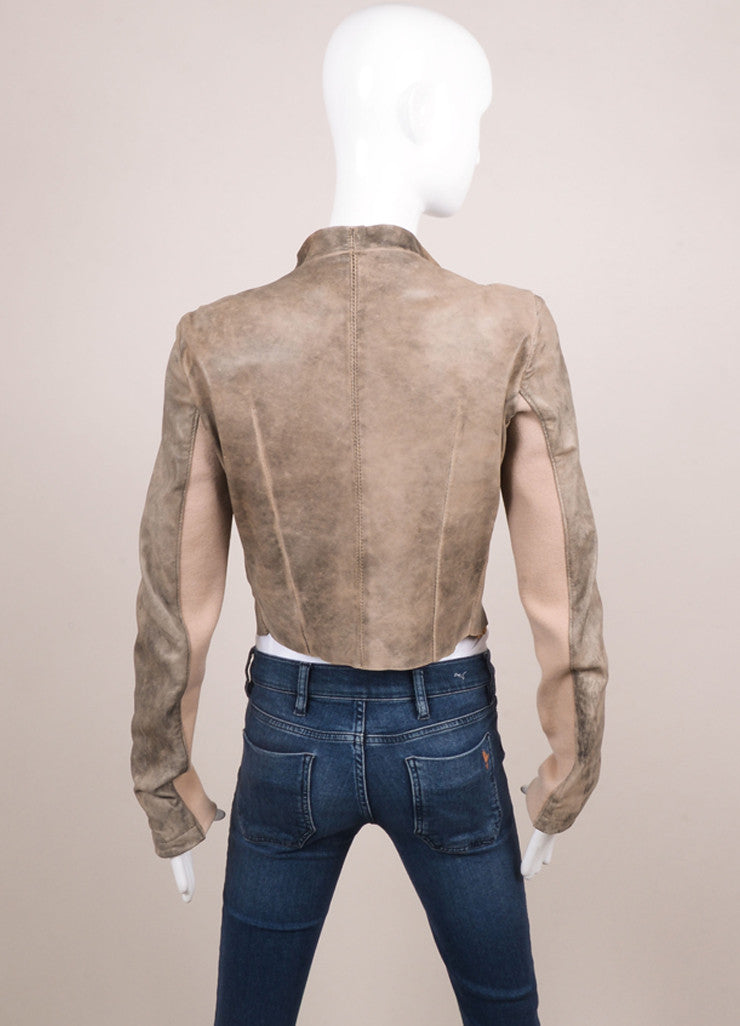 Blur Taupe and Brown Distressed Leather Long Sleeve Crop Moto Jacket Backview