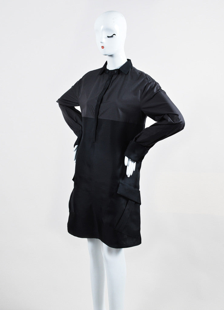 Graphite and Black Bottega Veneta Cotton and Silk Long Sleeve Shirt Dress Sideview
