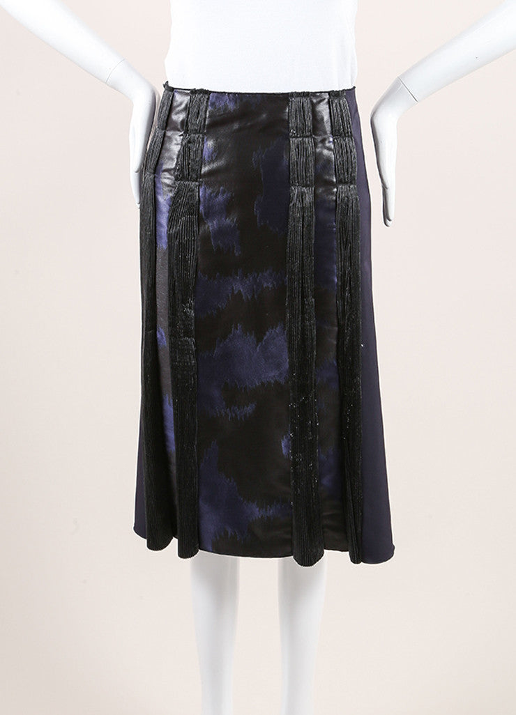 Bottega Veneta Navy and Black Woven Jacquard Plisse Striped A-Line Skirt Frontview