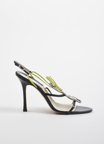 Brian Atwood Brown, Cream, and Green Pony Hair Spotted Strappy Sandals Sideview