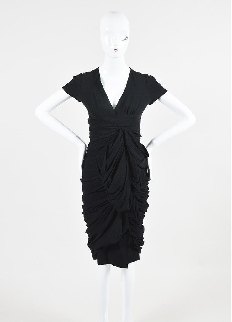 Black Burberry Prorsum Silk Ruffled Gathered Short Sleeve Dress  Frontview