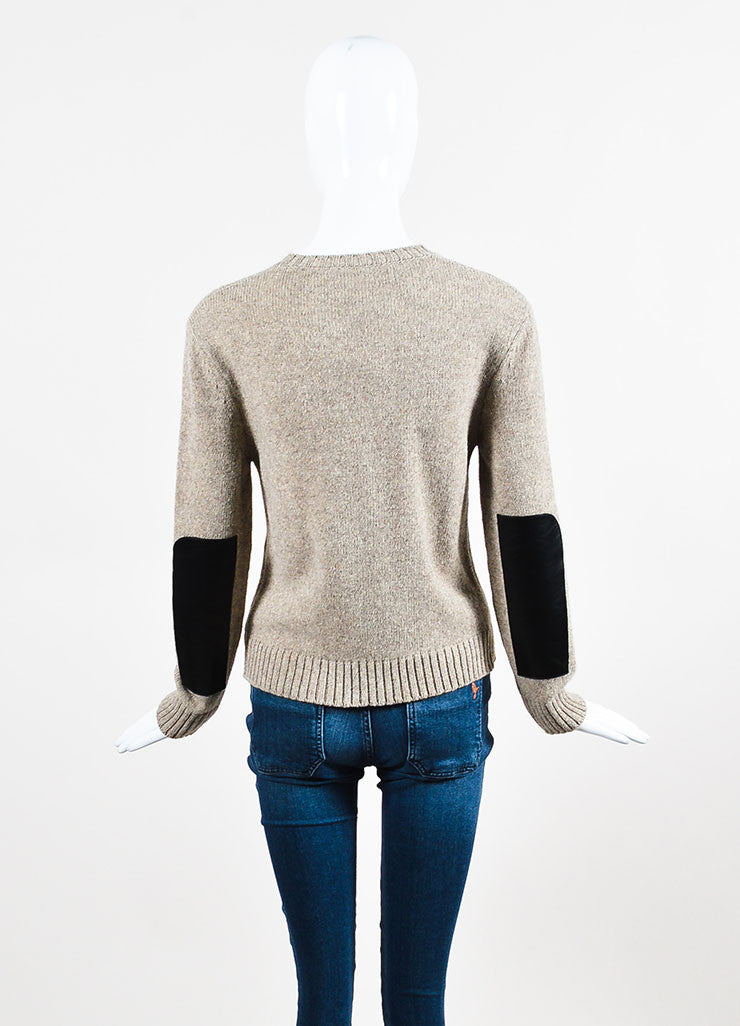 Celine Taupe and Black Wool Leather Elbow Patch Pullover Sweater Backview