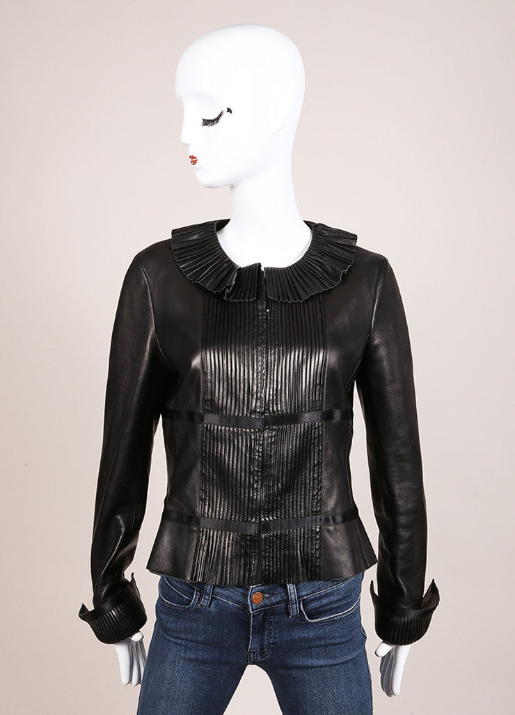 Chanel Black Leather Pintuck Ruffle Ribbon Trim Long Sleeve Jacket Frontview
