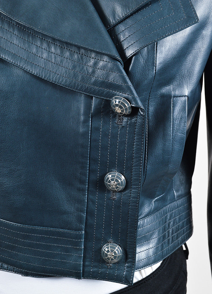 Blue-Grey Chanel Calf Leather Double Lapel Cropped Jacket Detail