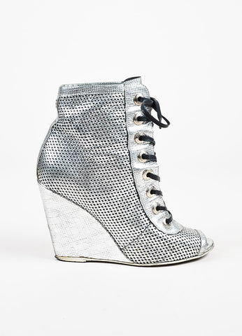Chanel Silver Metallic Perforated Leather Lace Up Wedge Booties Sideview