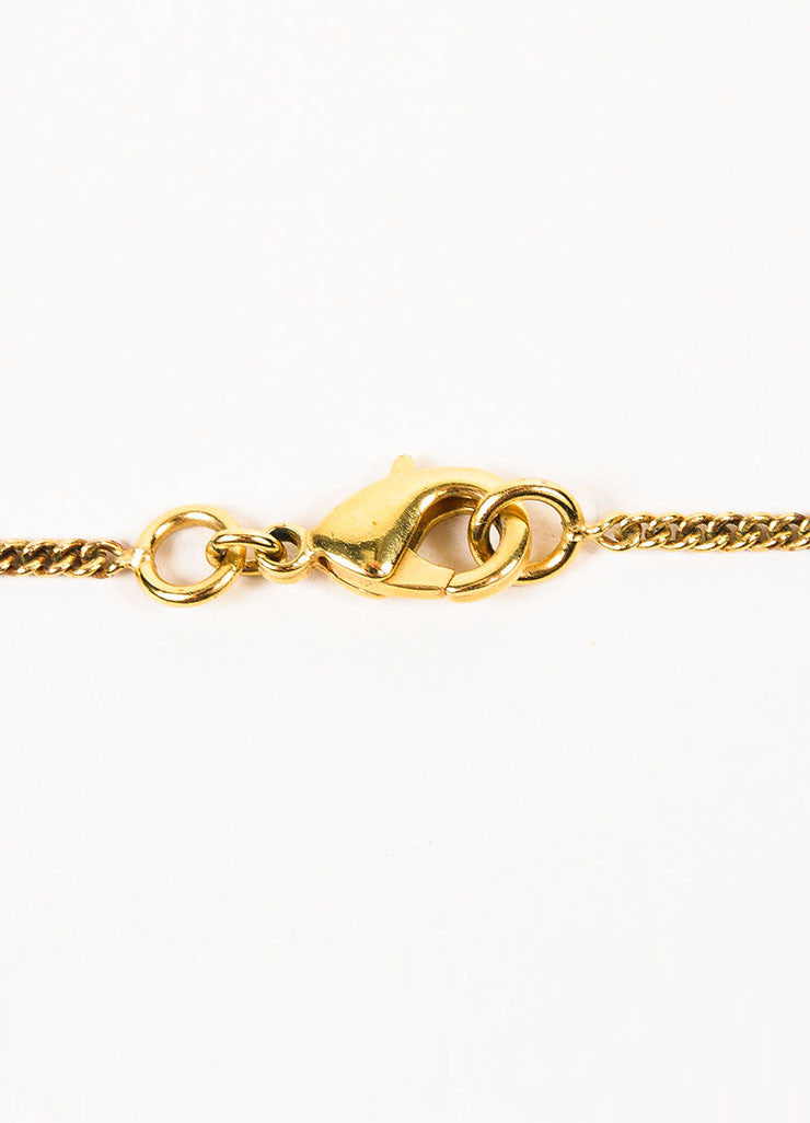 Gold Toned Chanel Textured 'CC' Logo Pendant Chain Necklace Closure