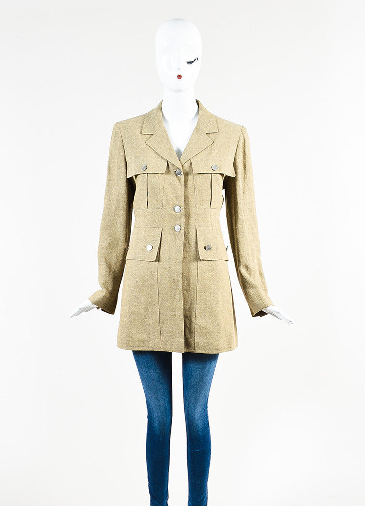 Chanel Beige Linen Cargo Pocket Long Tailored Jacket Frontview 2