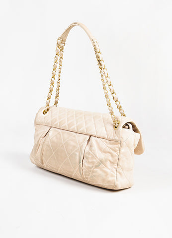 "Chanel Beige Leather ""Chic Quilt"" Gold Toned Chain Link Flap Shoulder Bag Sideview"