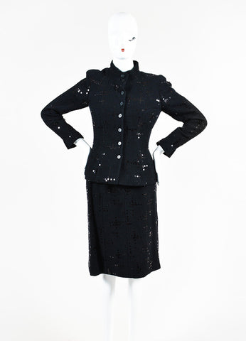Chanel Black Cotton and Wool Tweed Sequined Blazer Skirt Suit Frontview